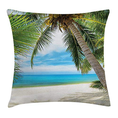 illow Cushion Cover, Shadow Shade of a Coconut Palm Tree on White Sandy Seashore Image, Decorative Square Accent Pillow Case, 18 X 18 Inches, Pale Green Pale Blue White ()
