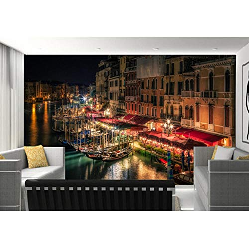 1710 Drucker (Ljtao Die Benutzerdefinierten 3D-Wandbilder Venedig Canal Nacht Straßenlaternen Städte Tapeten Wohnzimmer Sofa Tv Wand Schlafzimmer Tapeten-200Cmx140Cm)