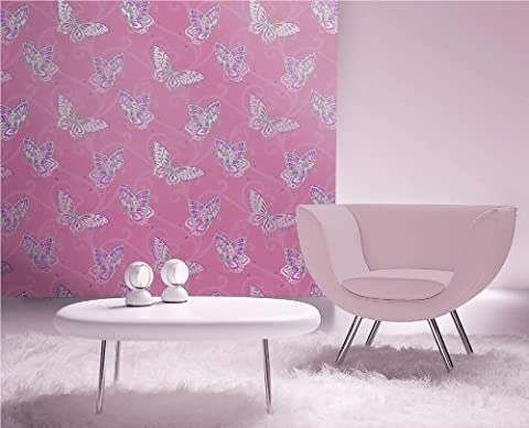 Papillon,Quality wallpaper,Smooth vinyl finish,Butterfly print (Pink)