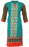 KKs Fashions Women's Cotton Straight Kurta (Light Green and Red)
