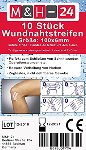 10er Set Wundnahtstreifen-Strips / Klammerpflaster Nahtmaterial Wundverschluss-Streifen 6 x 102 mm (Erste-hilfe-chirurgische Tape)