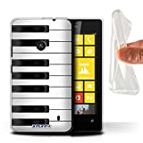 Coque Gel TPU de Stuff4 / Coque pour Nokia Lumia 520 / Piano Design / Clés/Boutons Collection