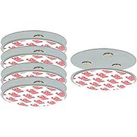 COM-FOUR® Set de 5 soporte magnético para detectores de seguridad, soporte con almohadillas adhesivas para detectores de humo, Ø 7 cm (05 piezas - soporte magnético)
