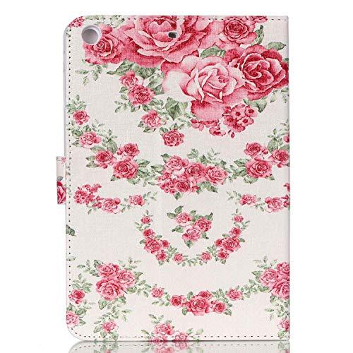 Felfy Kompatibel mit Hülle iPad Mini/Mini 2 / Mini 3 Case Lederhülle Ultra Slim Flip Leather Case Tablet Leder Hülle Etui Cover Handytasche Rose Blume Muster Tasche Cover Case,EINWEG Verpackung