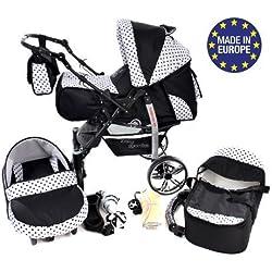 Baby Sportive - Sistema de viaje 3 en 1, RUEDAS GIRATORIAS y accesorios, color negro, blanco, lunares