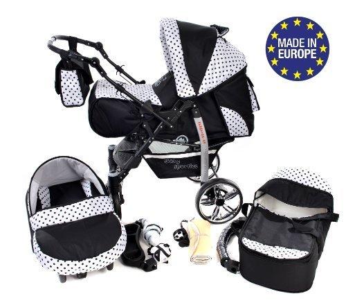 Baby Sportive - Sistema da viaggio 3 in 1 (carrozzina con ruote girevoli, seggiolino auto e passeggino), con accessori, colore: Nero a pois