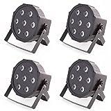 4x ETEC Quad LED PAR Scheinwerfer 7x10 Watt RGBW 4in1 - Party Disco Leuchten DJ...