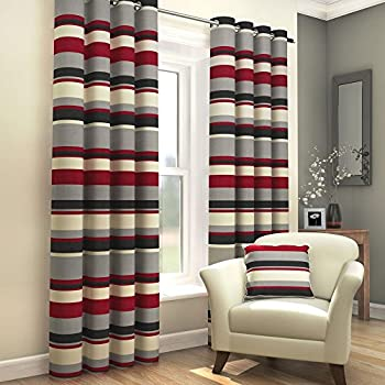 Marvelous Black Red Grey Cream Striped Ring Top Fully Lined Pair Of Eyelet Ready Made  Curtains ( Part 31