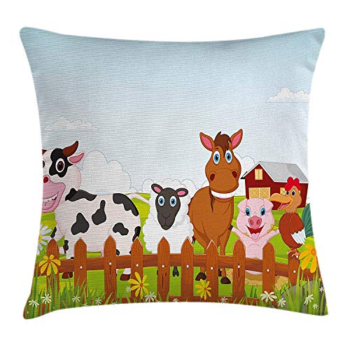 Pillow Cushion Cover, Cute Farm Creatures with Cow Horse Goat Pig and Chicken by The Fences Kids Cartoon, Decorative Square Accent Pillow Case, 18 X 18 Inches, Multicolor ()