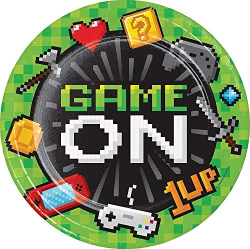Neu: 8 Teller * Game ON * für Kindergeburtstag und Motto-Party | LAN Gaming Zocker Zocken Spielen Konsole Pixel Mottoparty Kinder Kindergeburtstag Geburtstag Pappteller Partyteller