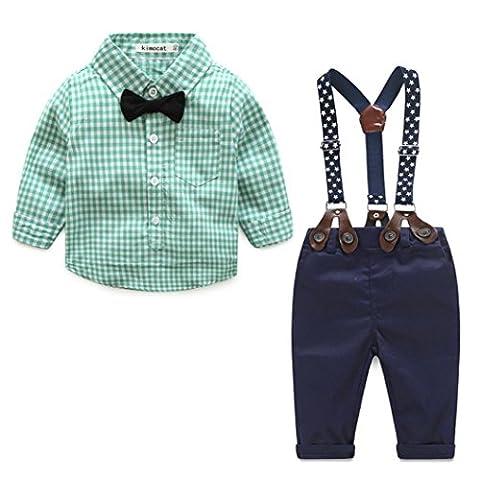 PINEsong Plaid Hemd + Hosenträger Hose Gentleman Outfits 2Pcs Säuglingskleinkind-Rasterdruck-Oberseiten-Plaid-langes Hülsen-Hemd + Hosen-Ausstattungs-Kleidung-Satz (Grün, (Cotton Schlaf Kleidung)
