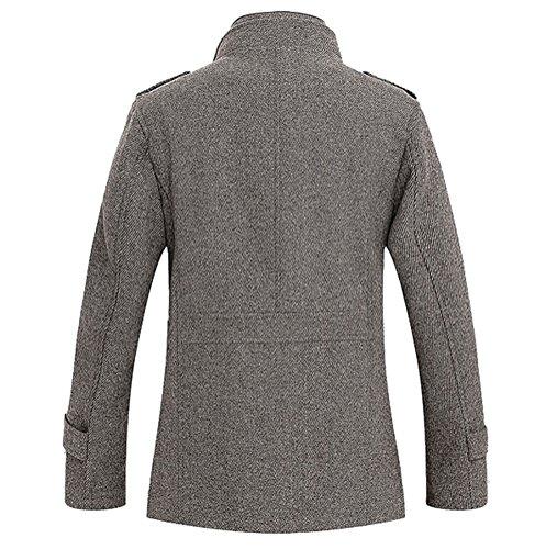 Brinny Herbst und Winter Herren Slim Warm Mantel Wolle Mischung Trenchcoat Jacken 2 Farbe: Coffee / Grau 5 Größe Coffee