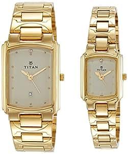 Titan Bandhan Analog White Dial Pair Watch - NE19552955YM02