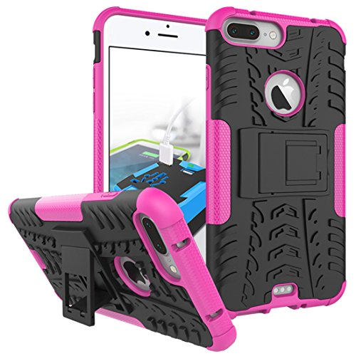 "iPhone 7 Plus Armor Case , VMAE Dual Layer Antiskid Tread Hybrid Rugged Heavy Duty Hard Back Cover Anti Slip With Built-In Kickstand Shock Proof Case for iPhone 7 Plus 5.5"" (Blue) RosePink"