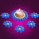 [Sponsored Products]Prime Diwali Diyas For Decoration Traditional Gift Exquisite Hand Crafted Flowers With Crystals Festive Decor Floating Diya With Tealight Candle Holder 1 LED Light + 1 Tealight Wax Candle {1 BIG + 5 SMALL}