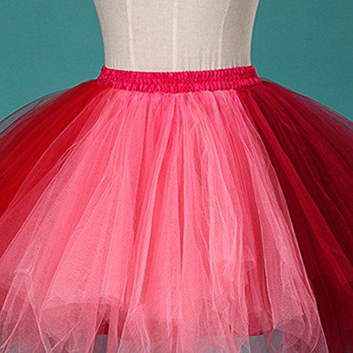 Feoya Ballet Jupe Femme Adulte Fille Tulle Léger Jupe Courte pour Fête Danse Spectacle Multi Couches Jupe Tutu Taille Élastique Multicolore Corail+Rouge
