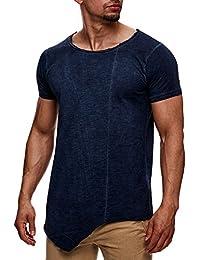 SUBLEVEL Herren Oversize T-Shirt Kurzarm Acid Wash Destroyed Used Look Longshirt Weiß Schwarz Blau S M L XL XXL