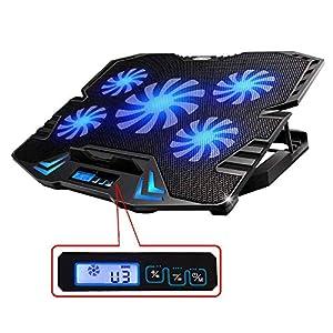 Topmate K5 - Base de refrigeración para ordenador portatil de 12 a 15,6 pulgadas con puerto usb, 5 venditadores controlable a 2500 RPM, Leds y pantalla LCD.