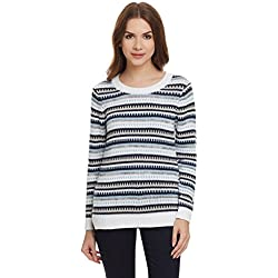 United Colors of Benetton Women's Cotton Sports Knitwear (16A1092D6113I901M_White and Multicolored)
