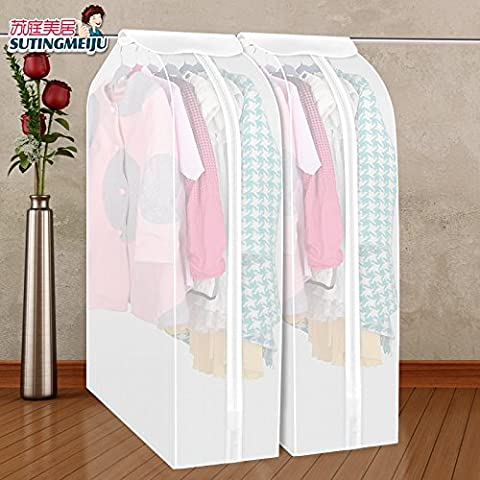 CrazySell Set of 2 Waterproof See-Through Garment Bag Clothes Cover Bag Duster Frosted Dress Top Organizer Zip Up Frameless Suit Protector with Magic Tape (60*90*30)