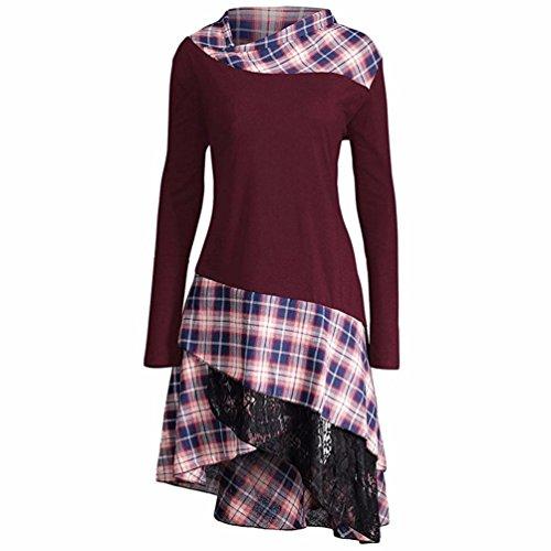OVERDOSE Damen Elegant Langarm Kariertes T-Shirt Kleider Blusen Kleider Casual Spitze Patchwork Partykleider Blusenkleid(A-Wine,EU-40/CN-L)