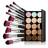 Chinatera 15 Farben Make-up Concealer Creme Kosmetik Palette +10ST Pinsel (Schwarz-Silber +Rosa)