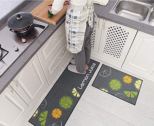 WJSW 2 Stücke Küche Teppiche Gummi Unterstützung Dekorative Rutschfeste Fußmatte Läufer Bereich Eingang Matten Sets 40 * 60 + 40 * 120 cm,Gray,40 * 60+40 * 120CM