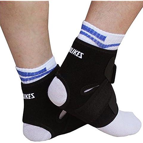 [2 Pack] AOLIKES Transpirable Tobillera Pie Correa Brace Funda para Correr Baloncesto Fútbol Voleibol Dance Pilates Skate SBR Nylon Negro