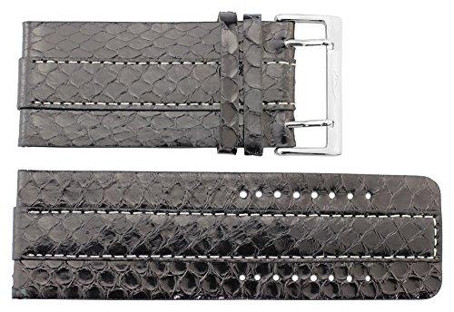 Moog Paris Schwarz Süßwasserschlangenleder Uhrenarmband, Schlangenhautmuster, Dornschließe, 34mm Uhrenarmband B34008 (Omega-uhr 34)