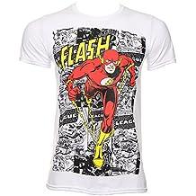 T Shirt DC Comics The Flash Comic Strip (Bianco)
