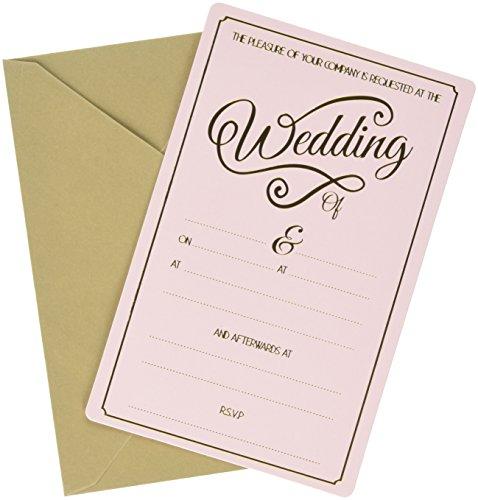 Ginger Ray Abend Pastell & Gold Vereitelt Hochzeit Einladungen (10Pack), Pink