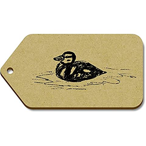 10 x Large 'Swimming Duckling' Wooden Gift / Luggage Tags (TG00042310)