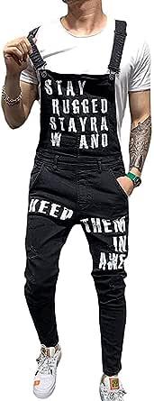 Men Ripped Jeans Playsuit Jumpsuits Denim Bib Long Trouser Overalls for Male Suspender Pants Size S-XX