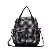 Babyhugs 6pcs Fashion Mama 4-Wege-wickeln Windel Rucksack Tasche–schwarz mit kleinen weißen Polka Dots
