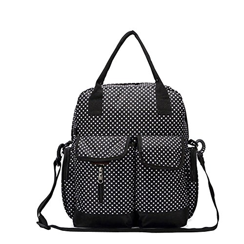 Babyhugs® 6pcs Fashion Mama 4-Wege-wickeln Windel Rucksack Tasche-schwarz mit kleinen weißen Polka Dots (Mit Schwarz Weißen Polka Dots)