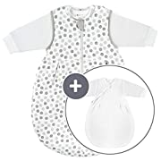 Coconette Ganzjahres Baby-Schlafsack Circle - 2-teilig: Langarm Innensack & gefütterter Außensack | für Sommer & Winter, 100% Baumwolle - Größe: 0-3 Monate (50/56)