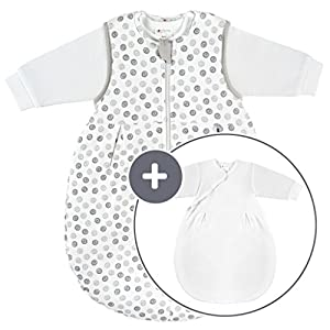 Coconette Circle Saco de dormir bebé todo el año – 2 Piezas: saco exterior forrado y saco interior de manga larga | para invierno y verano, 100% algodón – Talla: 0-3 meses (50/56)
