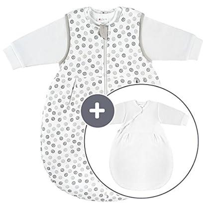 coconette todo el año Bebé de saco de dormir Circle–2piezas: manga larga Saco interior & Exterior con forro Saco, para verano & Invierno, 100% algodón–tamaño 50/56/0–3meses