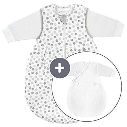 Coconette Ganzjahres Baby-Schlafsack Circle - 2-teilig: Langarm Innensack & gefütterter Außensack für Sommer & Winter, 100{ee7edb5cf58ab23fb7810c9117b591fbec015158e3ef16e2a94e4a59d2eb284a} Baumwolle - Größe: 3-6 Monate (62/68)