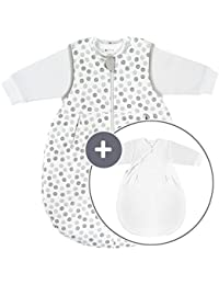 Coconette Ganzjahres Baby-Schlafsack Circle - 2-teilig: Langarm Innensack & gefütterter Außensack | für Sommer & Winter, 100% Baumwolle