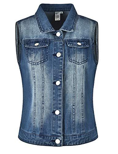 MISS MOLY Giacca Jeans Donna Vintage Giacca di Jeans Donna Corta Gilet Senza Maniche Blu - XL