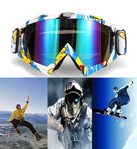 MASO Lunettes de Ski/Snowboard pour Motocross Hors Route Lunettes antibuée Vélo de Course Anti-UV pour Homme et Femme