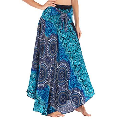 TIFIY Damen Boho Blumen Knielang Rock Lange Hippie böhmischen Zigeunerelastische Taille Floral Halter Rock(Blau,Free)