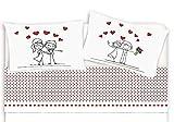M&O Completo Lenzuola e federe Letto Matrimoniale 2 piazze in Cotone Stampato Lenzuolo sotto con Angoli Stampa Fotografica Digitale Innamorati Amore Cuore Love Rosso