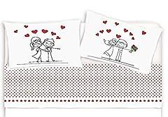 Idea Regalo - M&O Completo Lenzuola e federe Letto Matrimoniale 2 piazze in Cotone Stampato Lenzuolo sotto con Angoli Stampa Fotografica Digitale Innamorati Amore Cuore Love Rosso