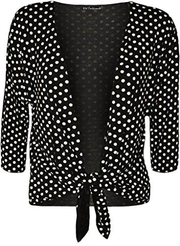 Islander Fashions Damen Bolero Gr. 46, Poka Dot Black (Poka Dot)