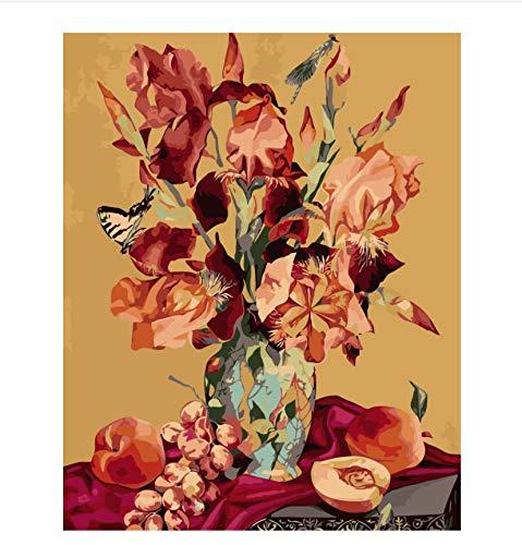 Malen Nach Zahlen Iris Granatapfel Stillleben Auf Leinwand Diy Öl Europa Dekoration Leinwand Malerei Für Wohnzimmer -