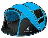 Ghlee 2 3 4 Person Sekunden Pop Up Schnelle Eröffnung Camping Wandern Große Instant Zelt für Outdoor Sport Camping Wandern Reisen Strand (Blau)…