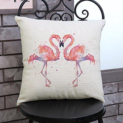 fheaven 45,7x 45,7cm Flamingo Gemälde Leinen Kissenbezug Überwurf Taille Kissen Fall Sofa Home Decor, Flax, e, 18