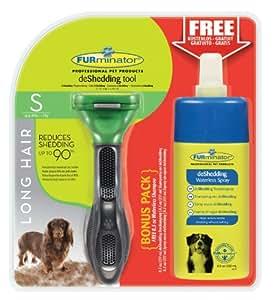 FURminator deShedding-Pflegewerkzeug (für langhaarige kleine Hunde, Größe S, mit Gratis Anti-Haaren Trockenspray)